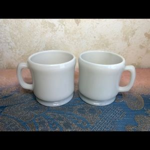 Vintage pair of 2 unmarked milk glass mugs